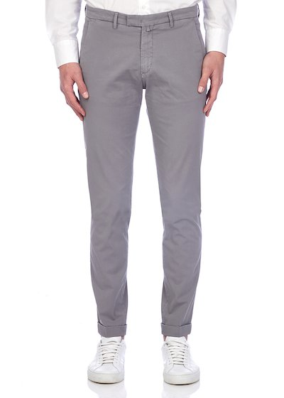 Slim fit slash pocket trousers tricot vintage effect with cuffs