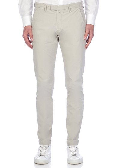 Slim fit slash pocket trousers tricot vintage effect with cuffs - Light Grey