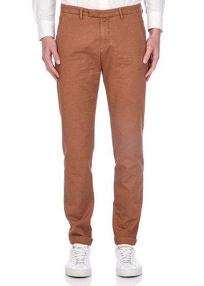 Slim fit slash pocket trousers dyed drill linen blend with cuffs - Tobacco