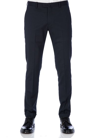 Slim fit slash pocket trousers strecht flannel - Blue Navy
