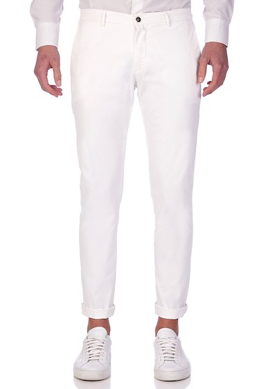 Slim fit slash pocket trousers gabardine - White