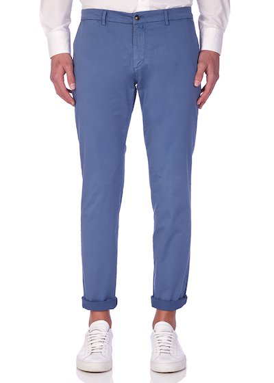 Slim fit slash pocket trousers satin - Avion Blue