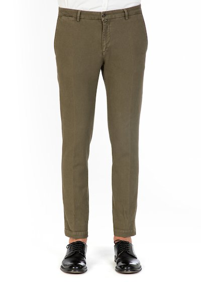 Casual slim fit trousers in cotton honey comb
