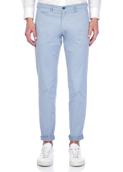Slim fit slash pocket trousers satin - Light Blue