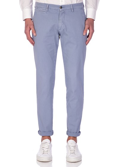 Slim fit slash pocket trousers microweaving vintage effect - Light Blue