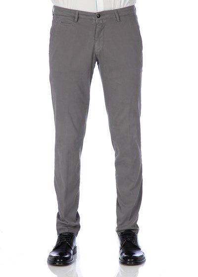 Pantalone tasca america con profilo in gabardine - Grigio Chiaro
