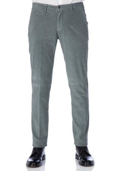 Pantalone tasca america con profilo in velluto rocciatore effetto vintage - Grigio