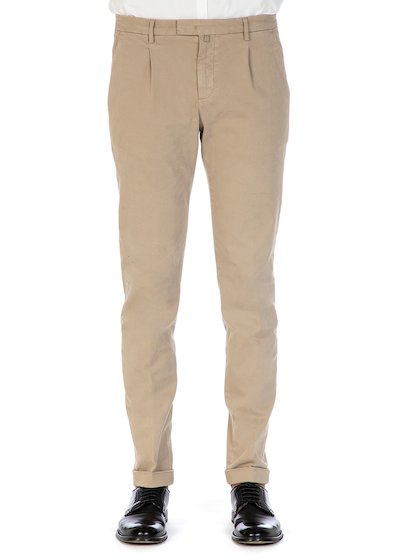 Slim fit trousers with pence and cuff in gabardine