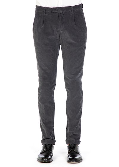 Slim fit trousers with pence and cuff in velvet
