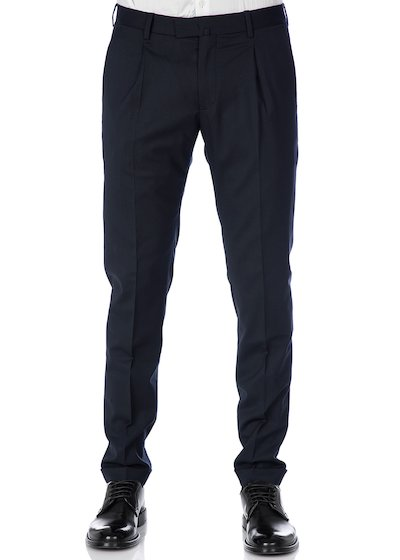 Flannel  slim fit  trousers with pleated and cuffs