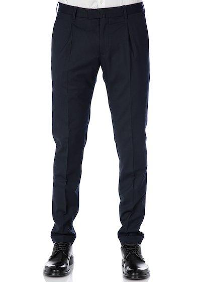 Pantalone tasca america slim fit con pence e risvolto in flanella stretch