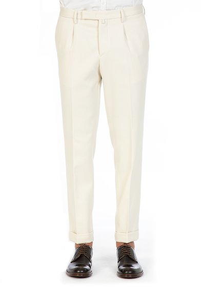 Slim fit trousers with pence in wool cotton - White