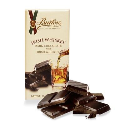 Butlers Dark Chocolate Bar with Irish Whiskey, Pack of 6 Bars