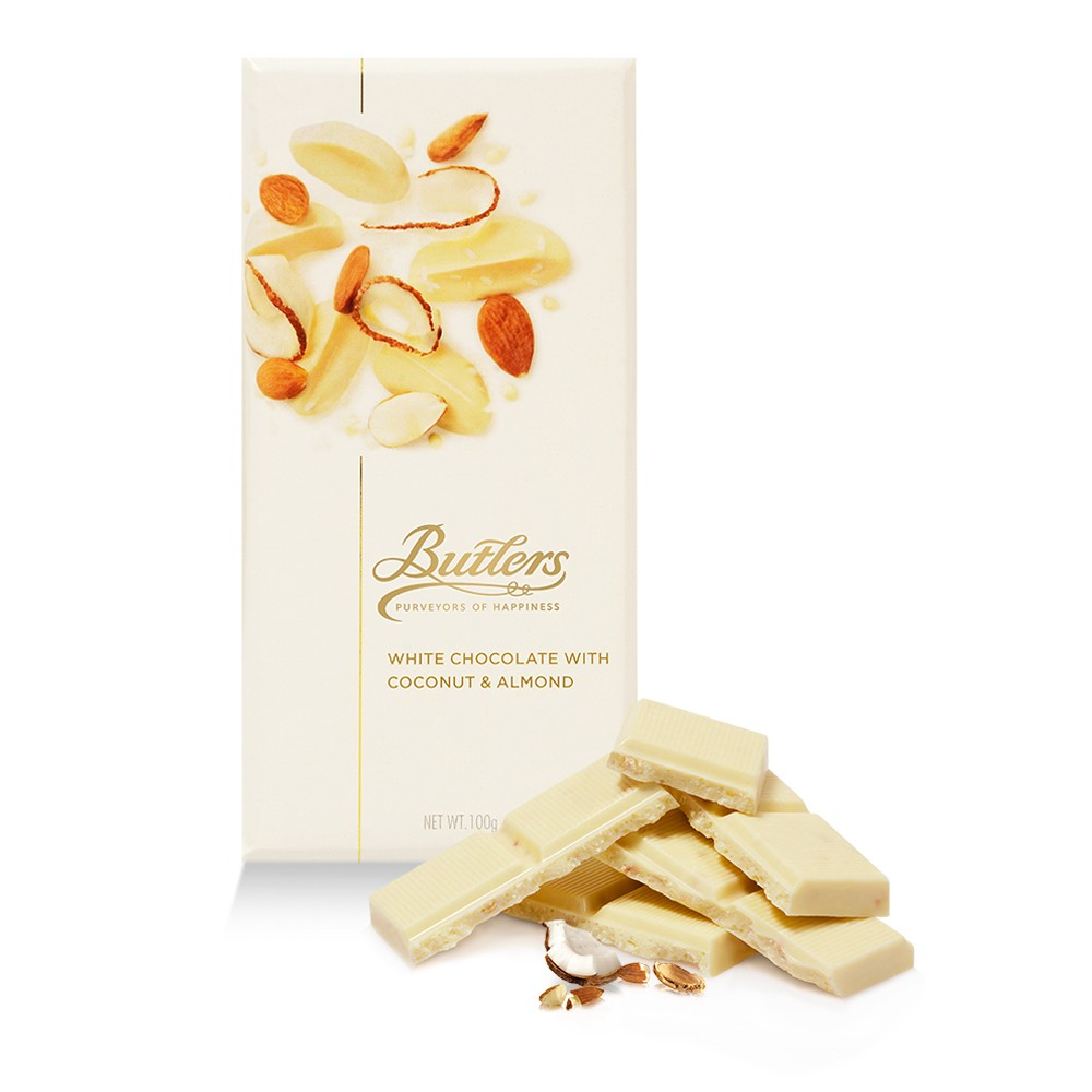 Butlers Large White Chocolate Bar with Coconut and Almond, Pack of 6 Bars
