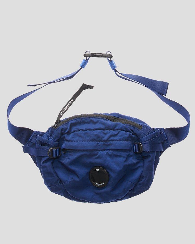 Garment Dyed Nylon Sateen Lens Waist Bag in Estate Blue