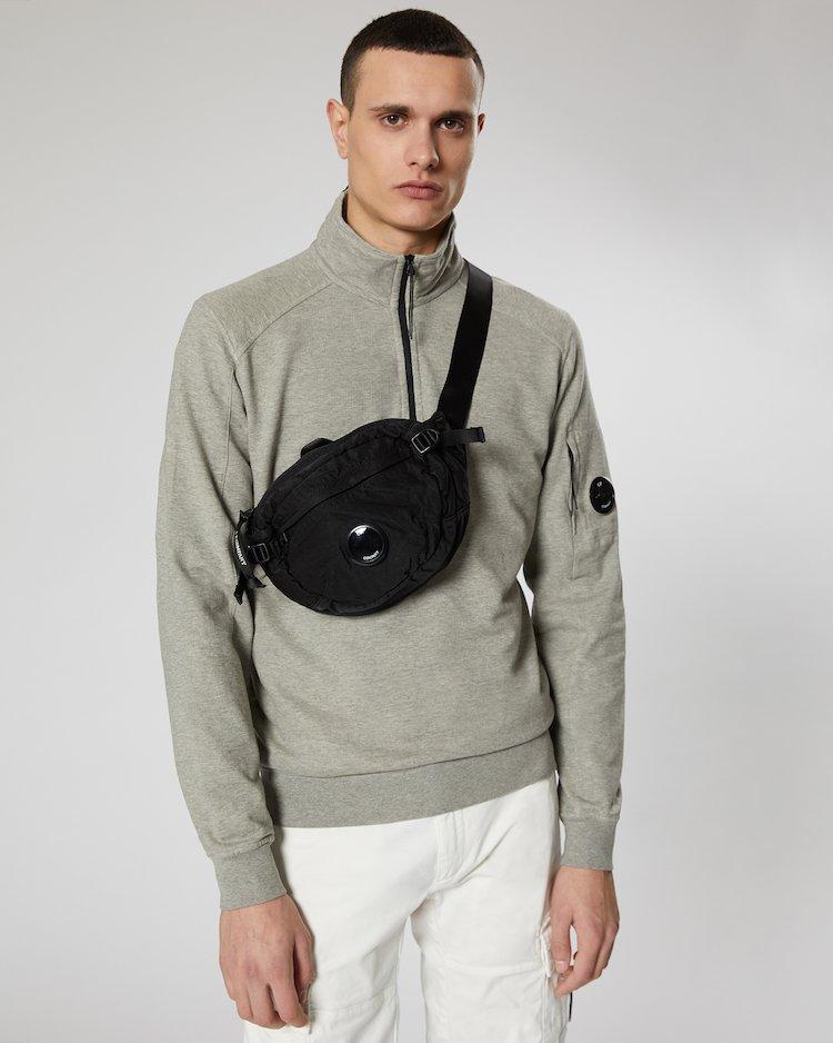 Garment Dyed Nylon Sateen Lens Waist Bag in Black