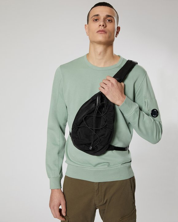 Garment Dyed Nylon Sateen Lens Shoulder Bag in Black