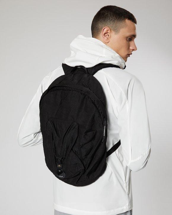 Garment Dyed Nylon Sateen Lens Backpack in Black