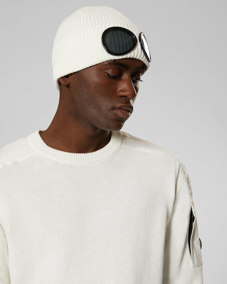 Cotton Goggle Beanie in Gauze White