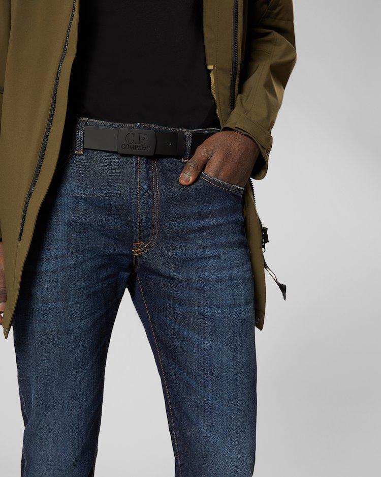 Rubber Leather Belt in Black