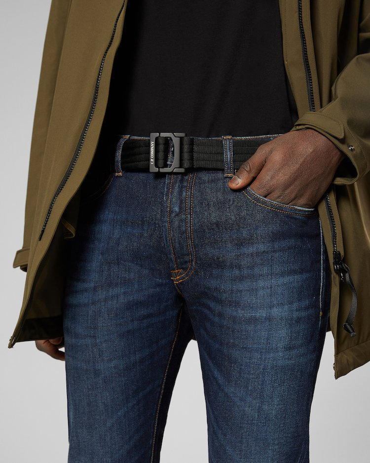 Quilted Tape Belt in Black