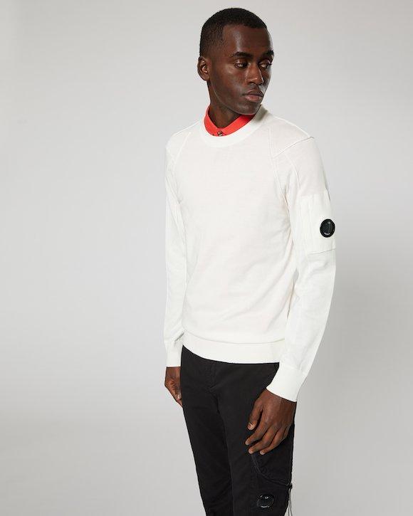 Sea Island Cotton Lens Crew Sweater in White