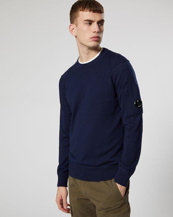 Sea Island Cotton Lens Crew Sweater in Black Iris