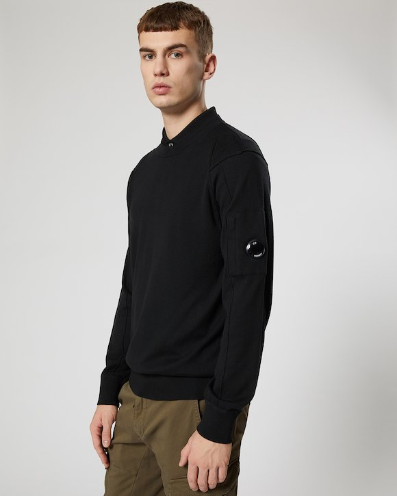 Sea Island Cotton Lens Crew Sweater in Black
