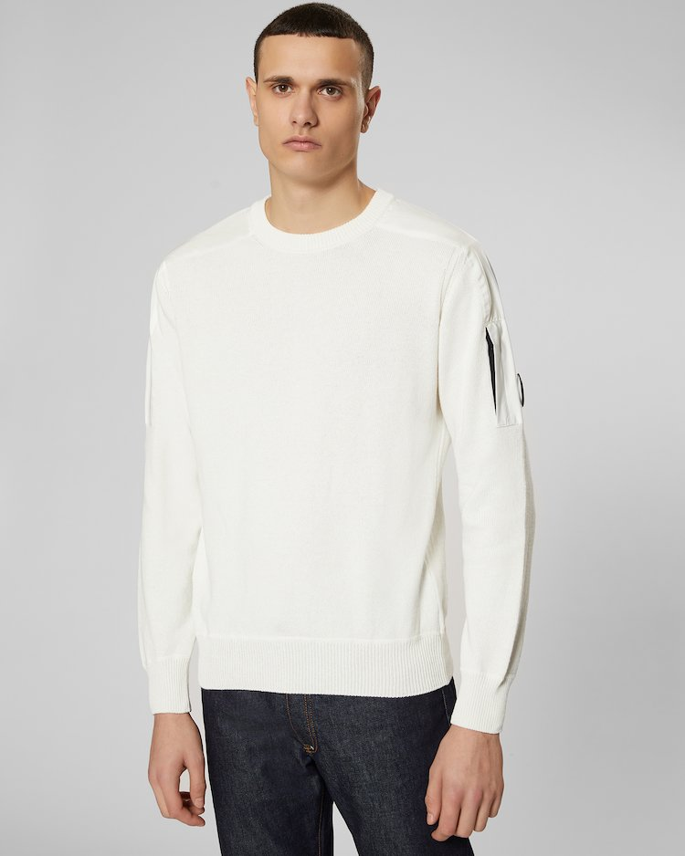 Cotton Mixed Lens Crew Sweater in Gauze White