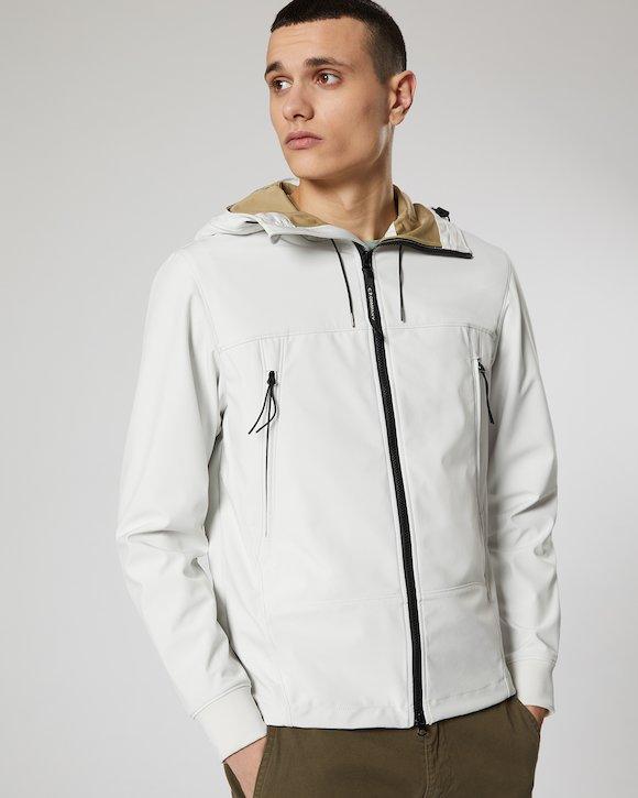 C.P. Shell Goggle Jacket in Gauze White