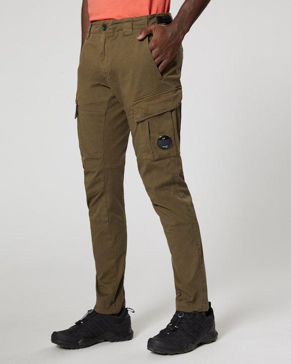 Garment Dyed Stretch Gabardine Cargo Lens Trouser in Beech