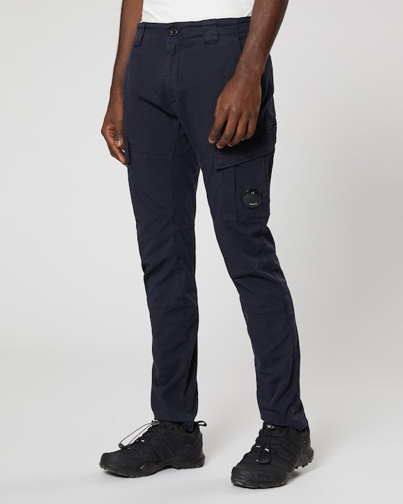 Garment Dyed Stretch Gabardine Cargo Lens Trouser in Total Eclipse