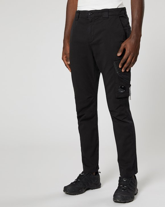 Garment Dyed Stretch Gabardine Trouser in Black