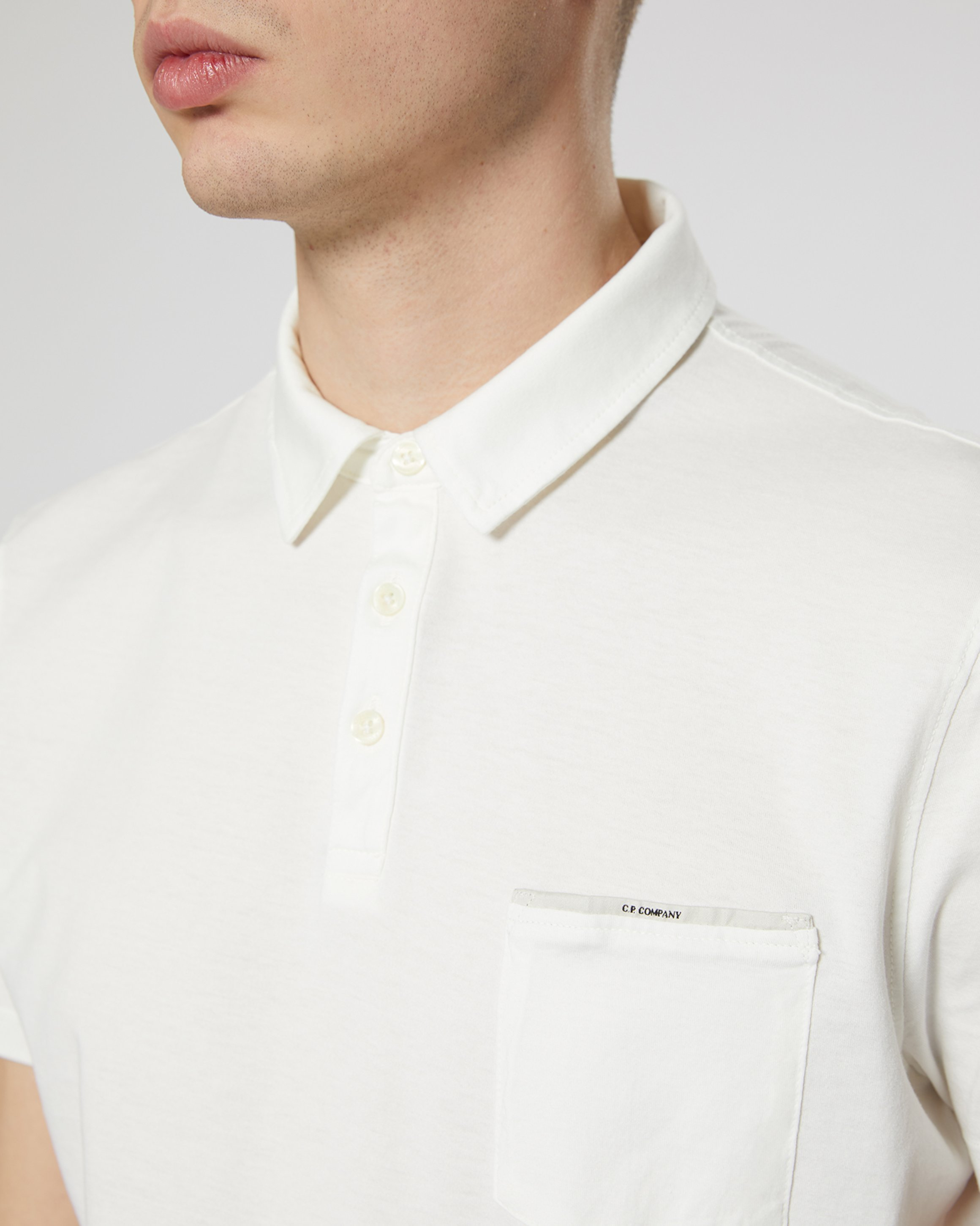 f212cdc7 Garment Dyed Makò Jersey Polo Shirt In White | C.P. Company Online Store