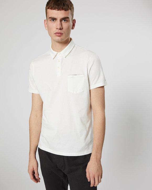 Garment Dyed Makò Jersey Polo Shirt in White