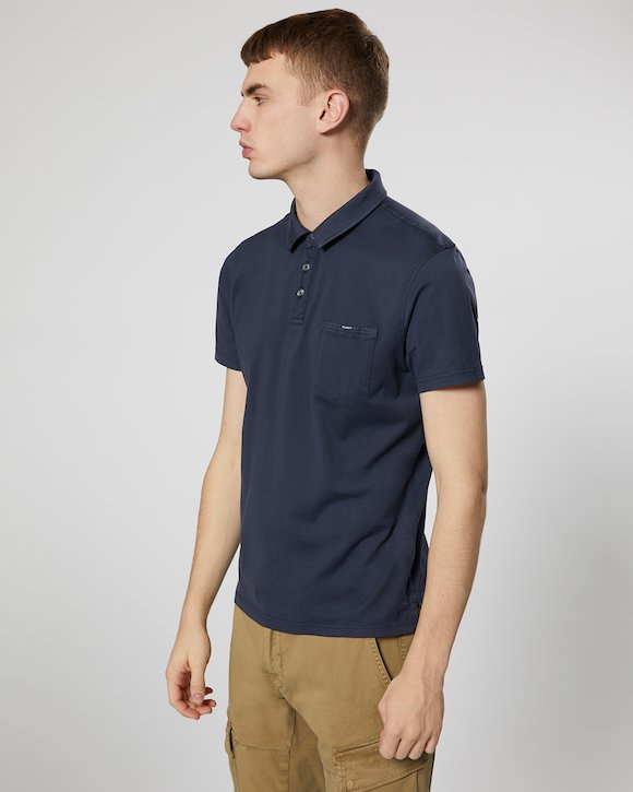 Garment Dyed Makò Jersey Polo Shirt in Total Eclipse