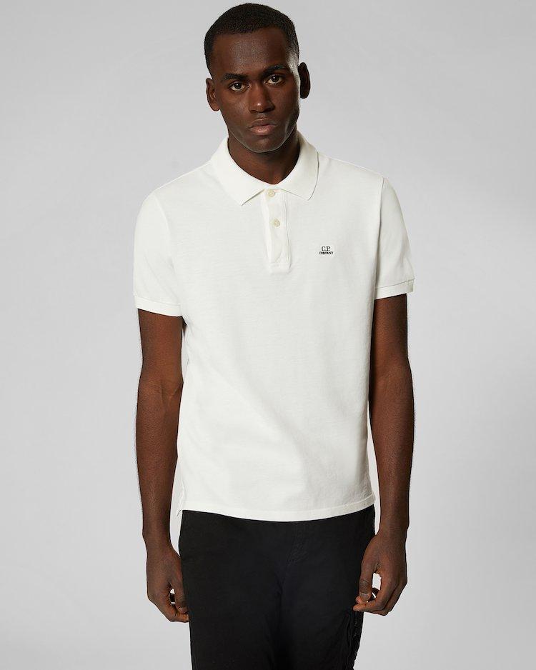 Cotton Piquet Polo Shirt in Gauze White
