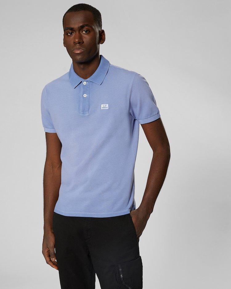 Re-Colour Cotton Piquet Polo Shirt in Dutch Blue