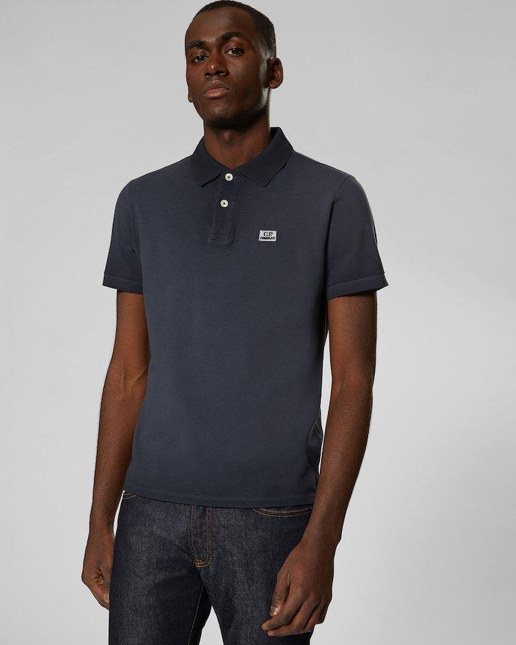 Re-Colour Cotton Piquet Polo Shirt in Raven Grey