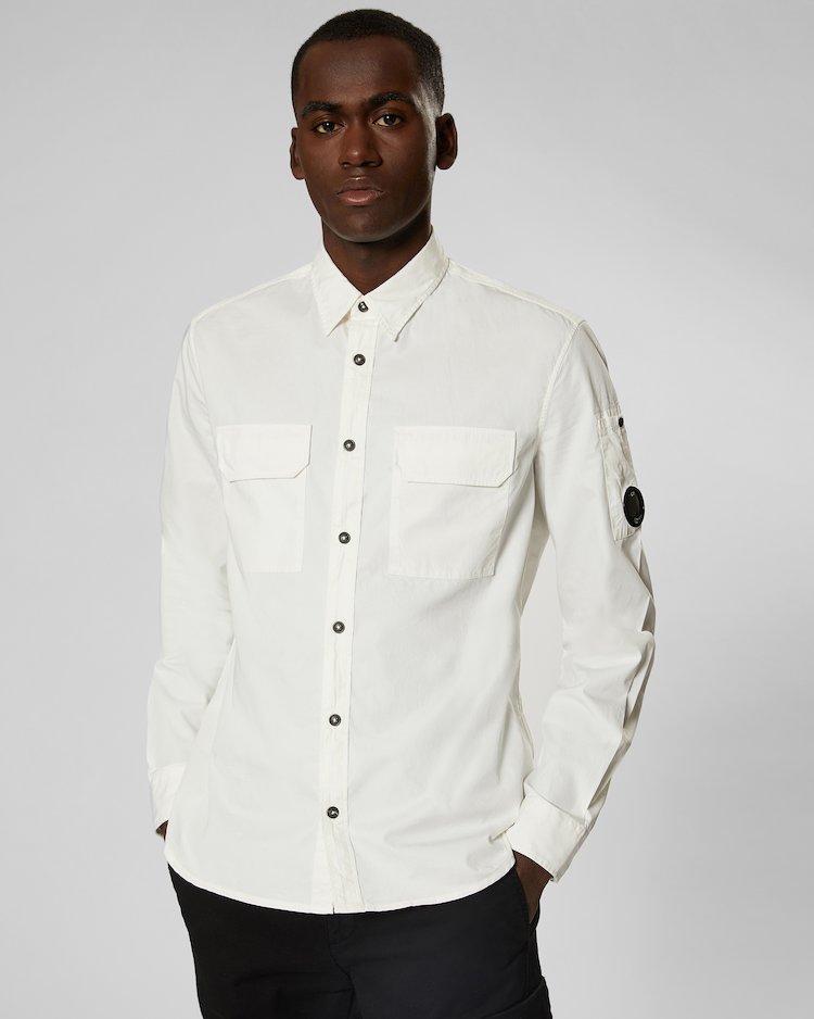 Gabardine Lens Shirt in Gauze White