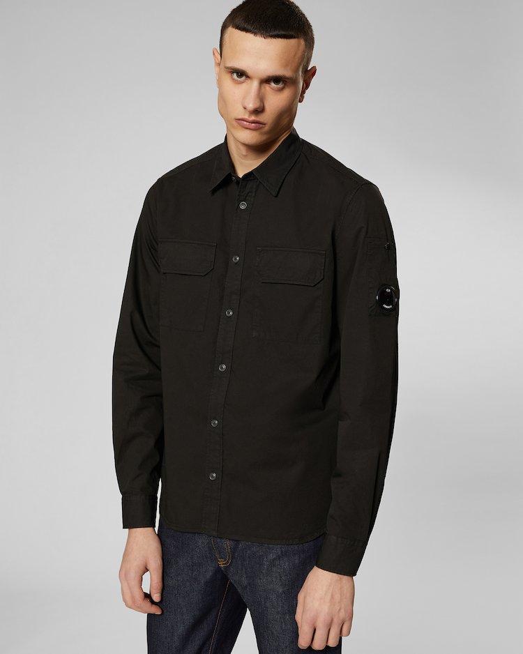 Gabardine Lens Shirt in Black