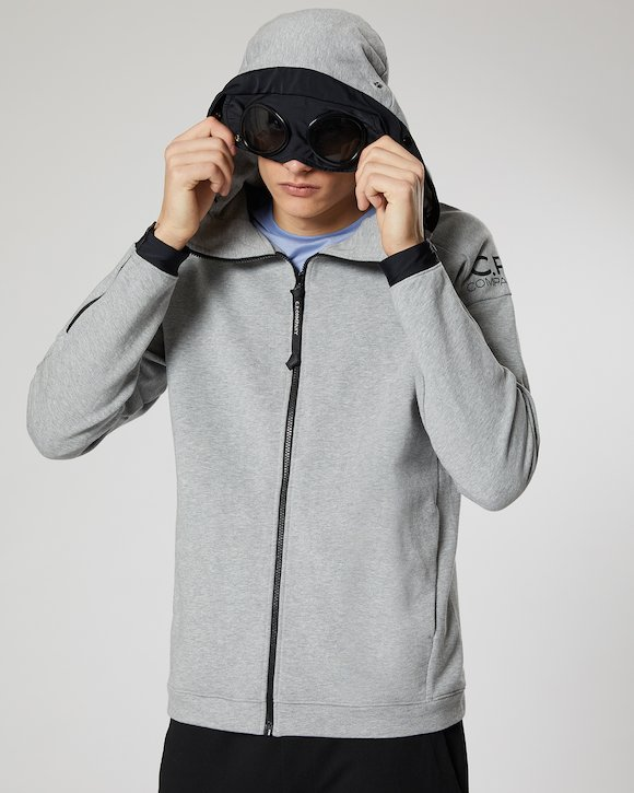 Diagonal Fleece Goggle Zip Hoodie in Grey Melange