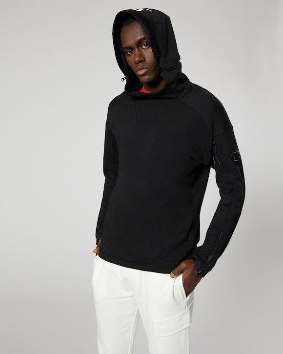 Diagonal Fleece Zip Hood Sweatshirt in Black