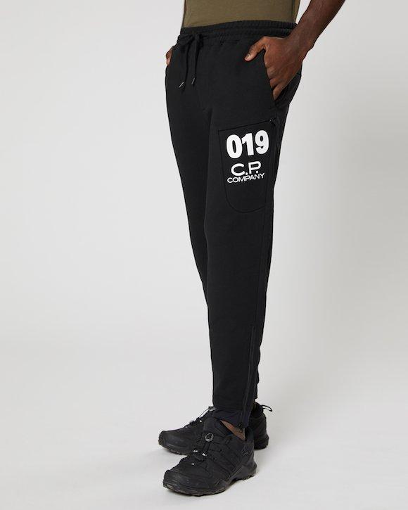 Diagonal Fleece Sweatpants in Black