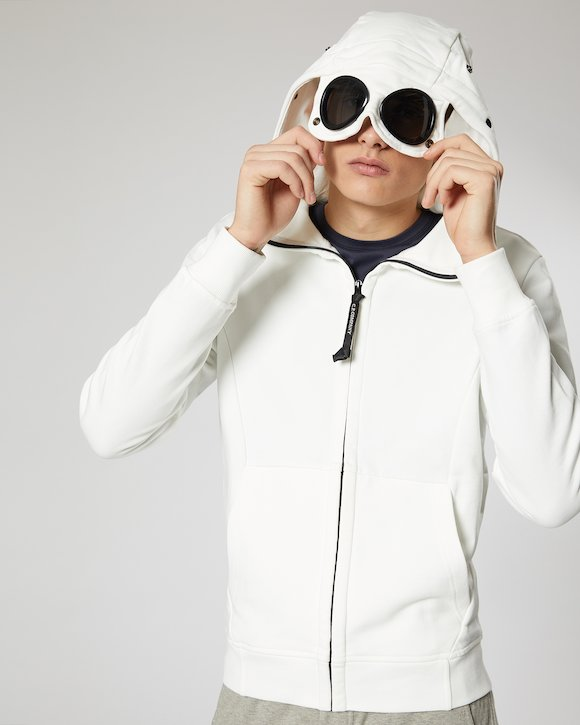 Diagonal Fleece Goggle Sweatshirt in White