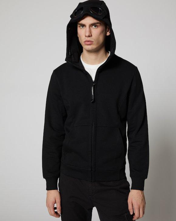 Diagonal Fleece Goggle Sweatshirt in Black