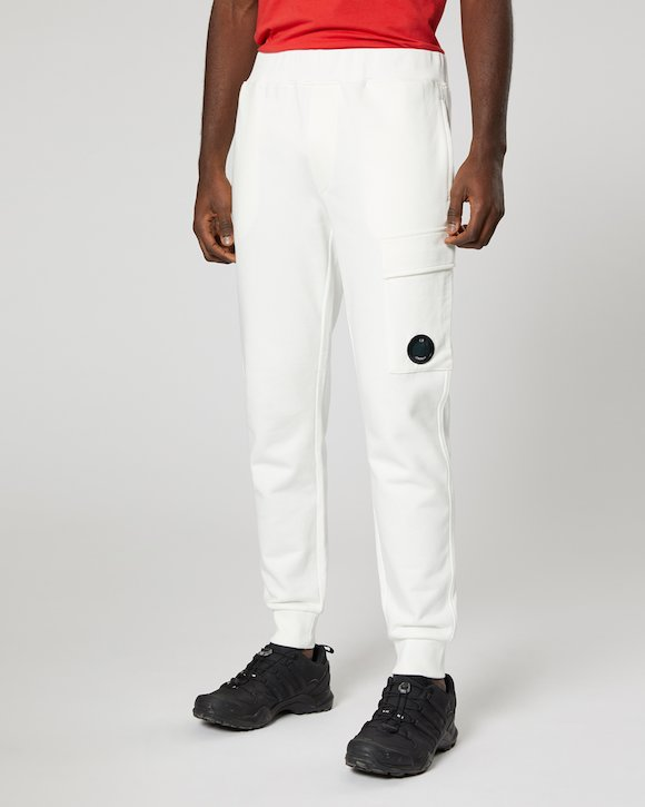 Diagonal Fleece Lens Pocket Sweatpant in White