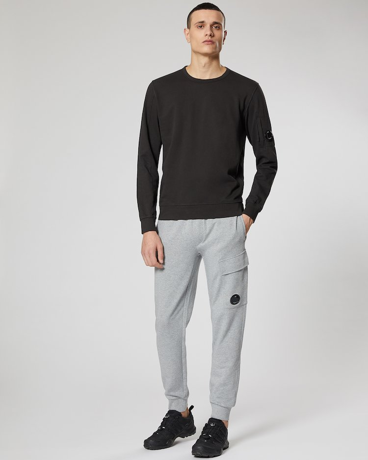 Diagonal Fleece Lens Pocket Sweatpant in Grey Melange