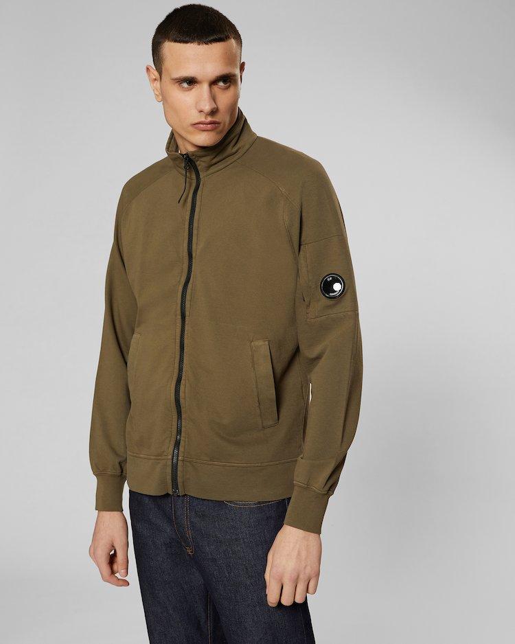 Garment Dyed Light Fleece Lens Zip Sweatshirt in Beech