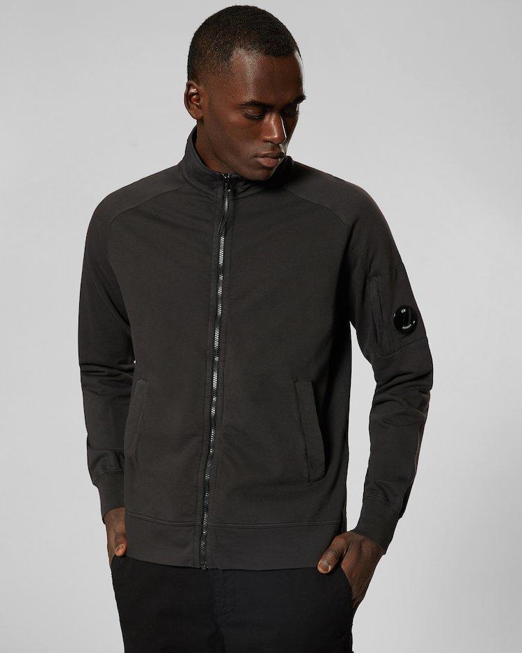 Garment Dyed Light Fleece Lens Zip Sweatshirt in Black